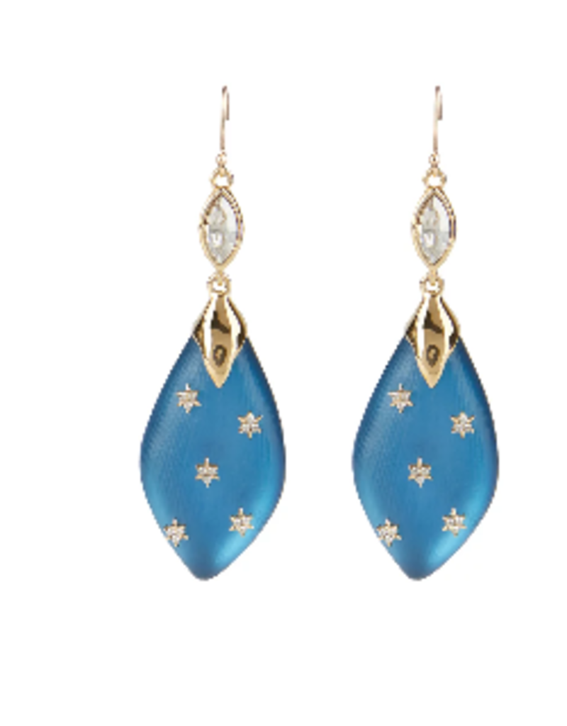 ALEXIS BITTAR Spike Studded Navette Wire Drop Earring - Pacific Blue