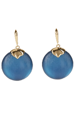 ALEXIS BITTAR Crumpled Metal Circle Drop Leverback - Pacific Blue