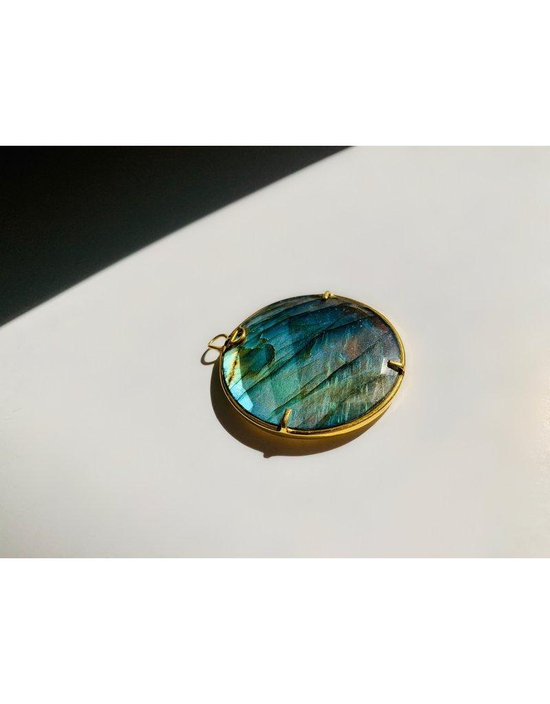 SENNOD Ring Gold Labadorite Gold Vignette 40mm