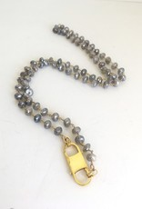 "SENNOD 36"" Grey Moonstone with Double Lobster Necklace"
