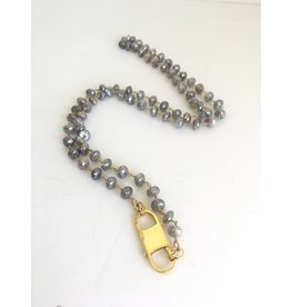 """SENNOD Grey Moonstone with Double Lobster Necklace 36"""""""