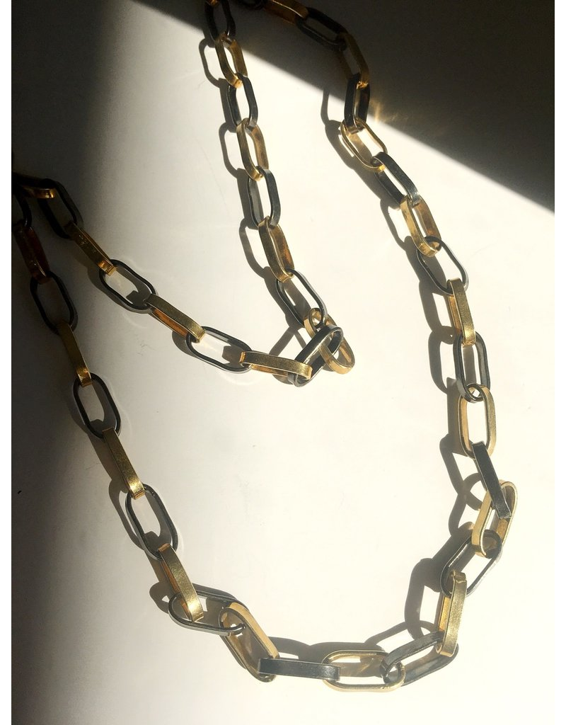 """SENNOD Gunmetal and Gold Paperclip Necklace 36"""""""