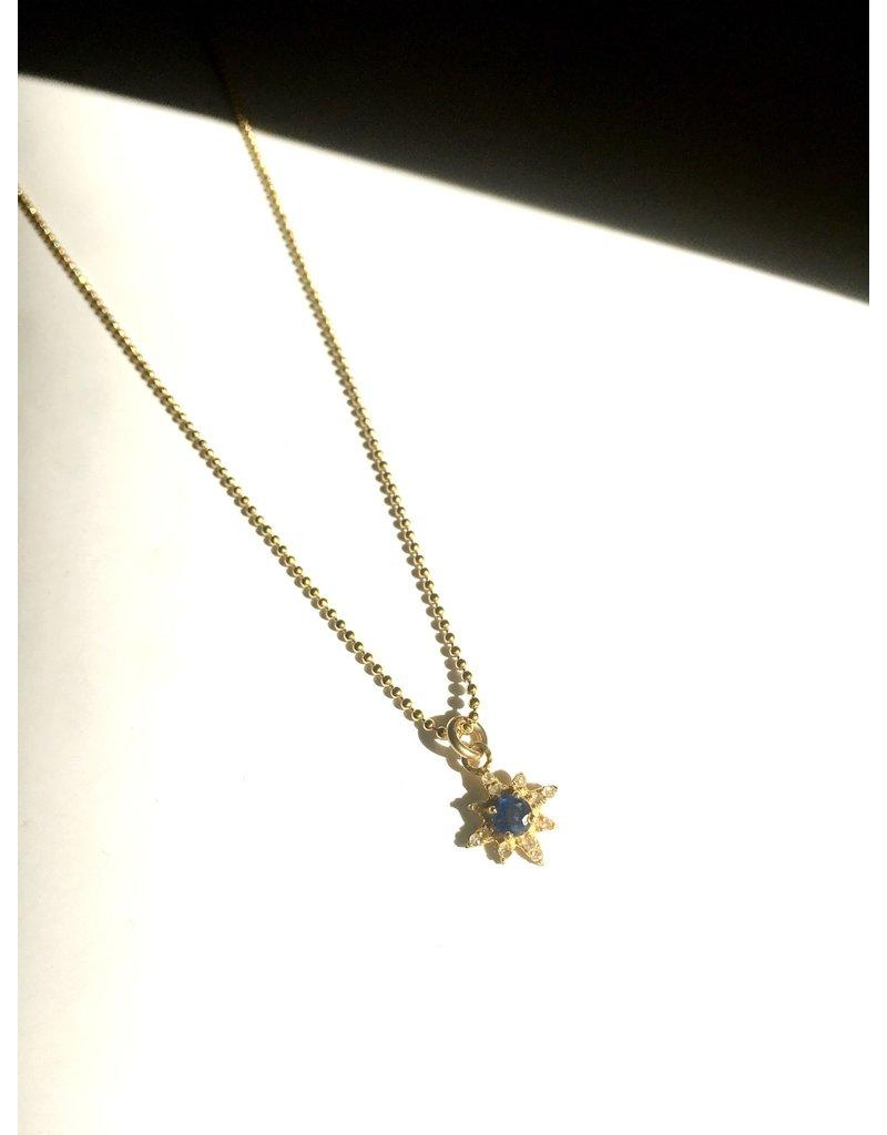 "SENNOD Kyanite and Diamond Star Necklace 16"""