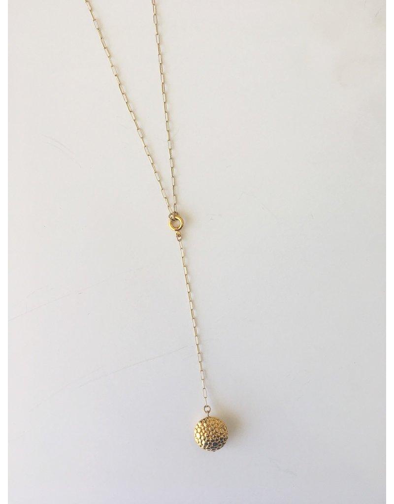 "SENNOD Gold Disc Y-Paperclip Necklace 18"""