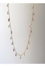 "SENNOD Labradorite Dangle Necklace Gold 28"""
