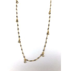 "SENNOD Labradorite & CZ Round Dangle Necklace 16"""