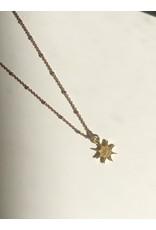 "SENNOD Diamond Starburst Rose/Gold Necklace 18"""