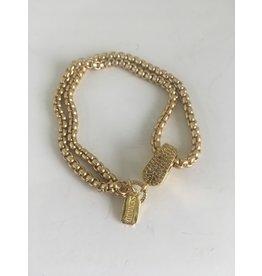 SENNOD Diamond Magnet Clasp Bracelet w/ Matte Chain - Gold