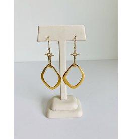 SENNOD Marquis Earring w/ Diamond Cross - Gold