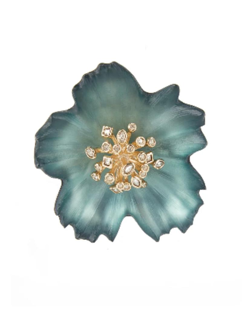 ALEXIS BITTAR Crystal Burst Flower Pin - Teal Blue