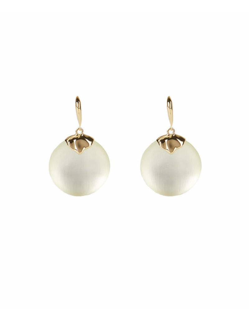 ALEXIS BITTAR Crumpled Metal Circle Drop Leverback - Ivory