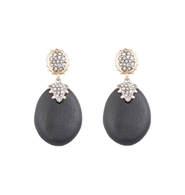 ALEXIS BITTAR Georgian Pave Post Drop Earring - Black