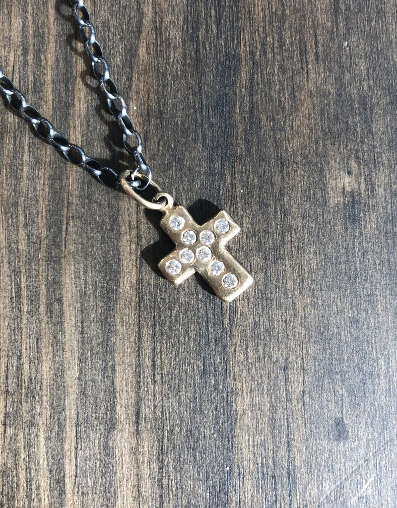 ERICA MOLINARI 18K 9 Diamond Rustic Cross