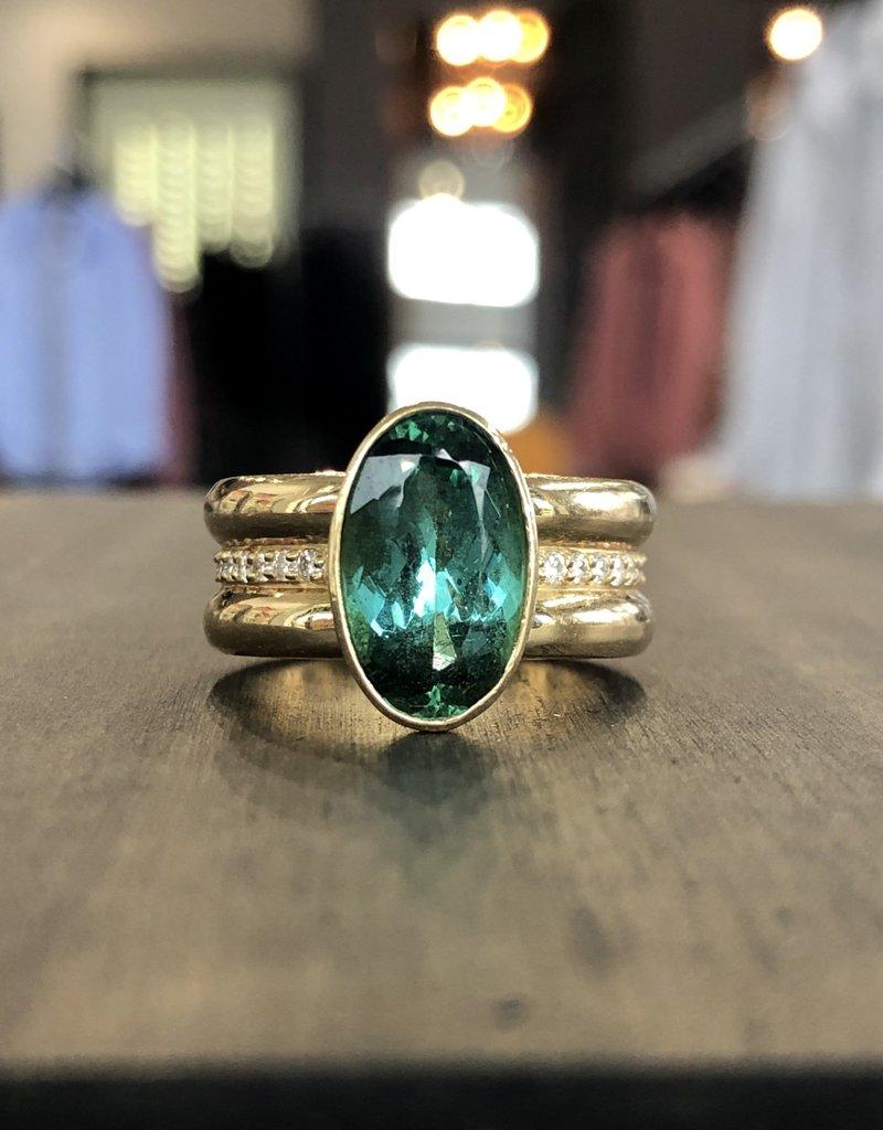 ERICA MOLINARI 18K Rare Green Tourmaline Ring