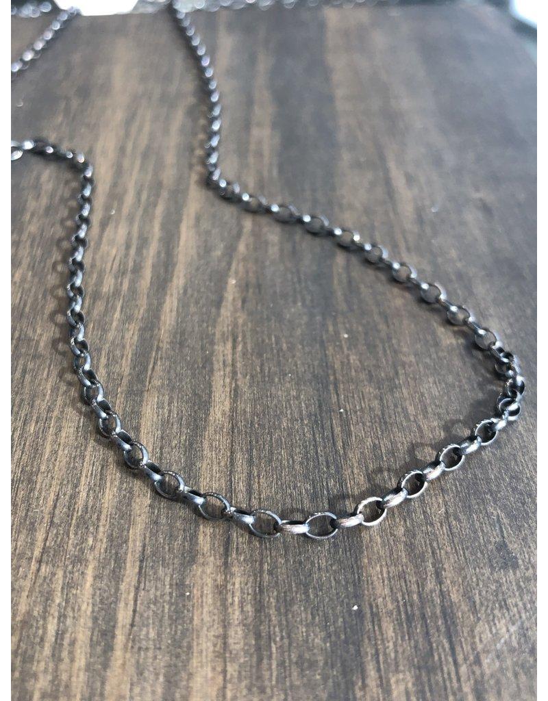 """ERICA MOLINARI 30"""" Oxidized Small Link Oval Chain"""