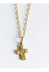 ERICA MOLINARI 18K 4 Diamond Rustic Cross