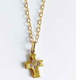 ERICA MOLINARI 18K 4 Diamond Rustic Cross