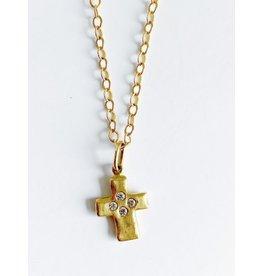 ERICA MOLINARI 14K 4 Diamond Rustic Cross