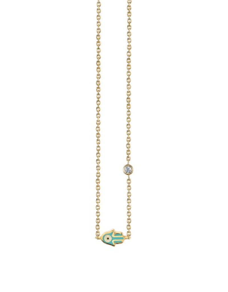 SYDNEY EVAN Mini Enamel Hamsa Necklace