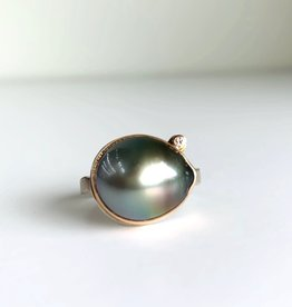 JAMIE JOSEPH Rose gold Tahitian Pearl w/ Diamond Ring