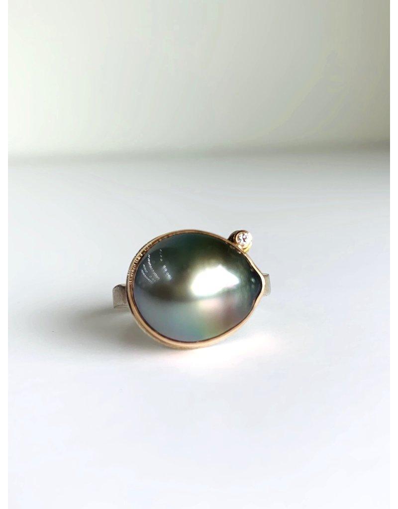 JAMIE JOSEPH Rose gold Tahitian Pearl w/ Diamond Ring