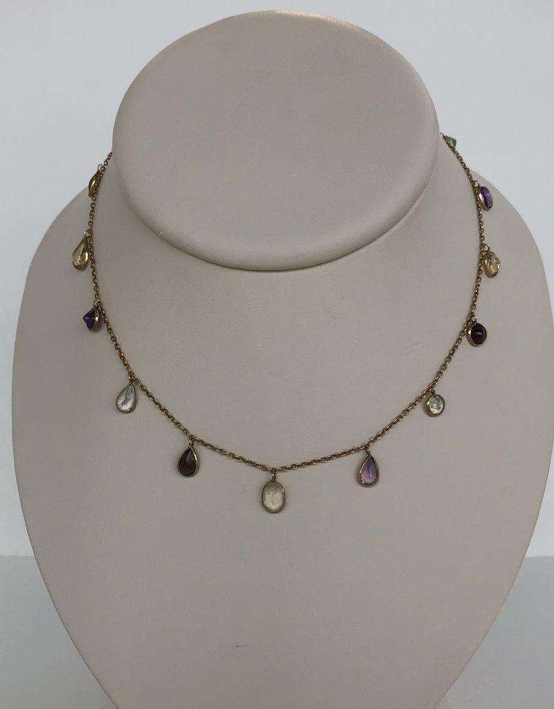 "SENNOD 18"" Multistone Dangle Necklace"