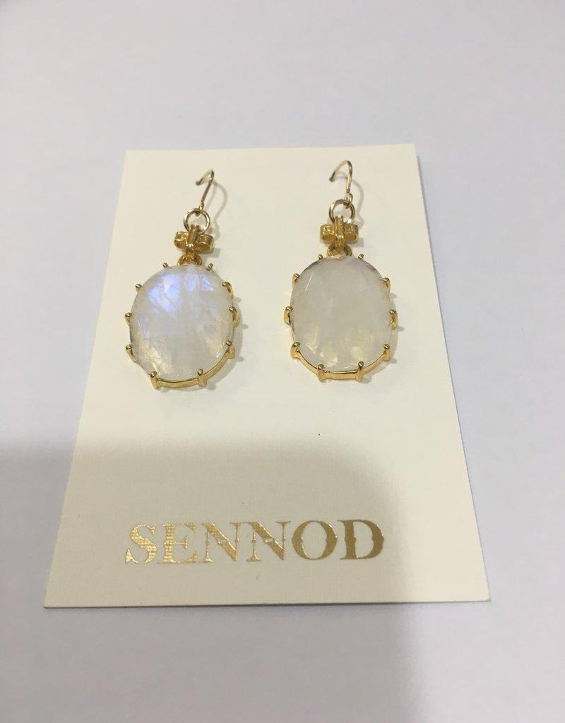 SENNOD Oval Moonstone Earrings