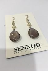 SENNOD Chocolate Moonstone Earrings - Sterling