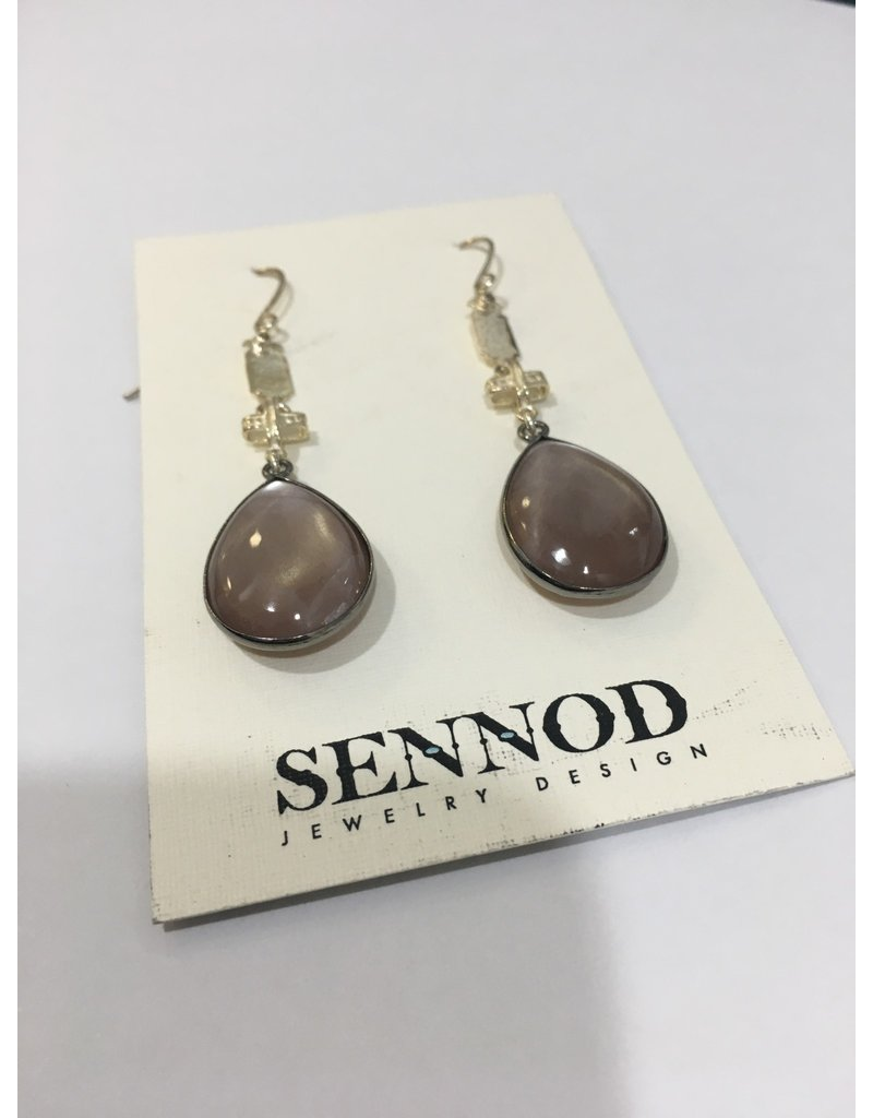 SENNOD Chocolate Moonstone Earrings - Sterling
