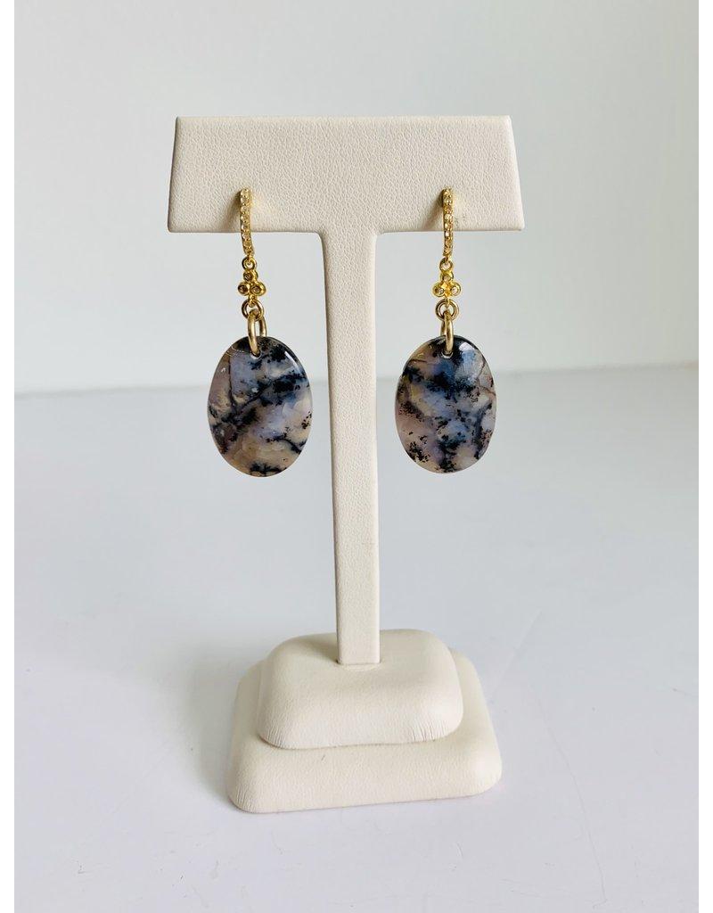 SENNOD Amethyst Sage Chalcedony w/ Diamond Earrings - Gold
