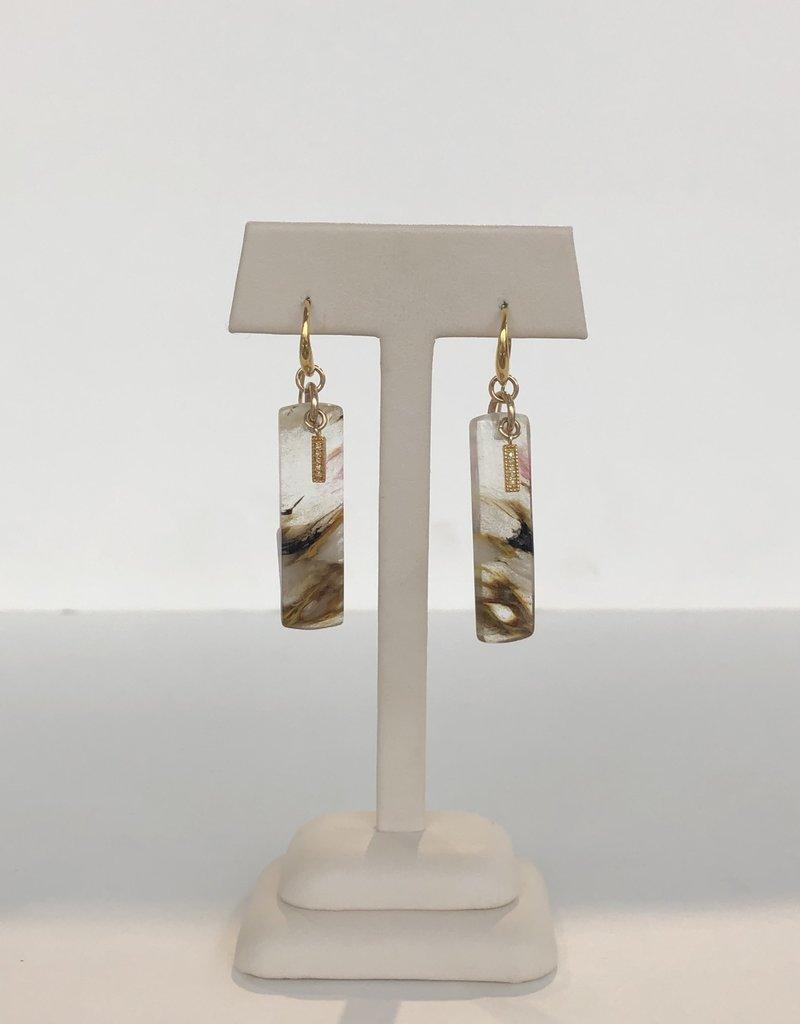 SENNOD Strawberry Quartz Earring w/ Diamond Bar