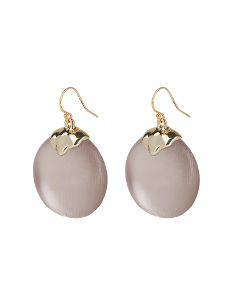 ALEXIS BITTAR Crumpled Inlay Circle Wire Earring - Rose Grey