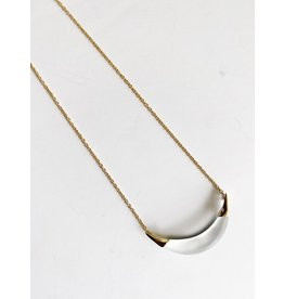 ALEXIS BITTAR Small Capped Crescent Pendant Necklace - Silver