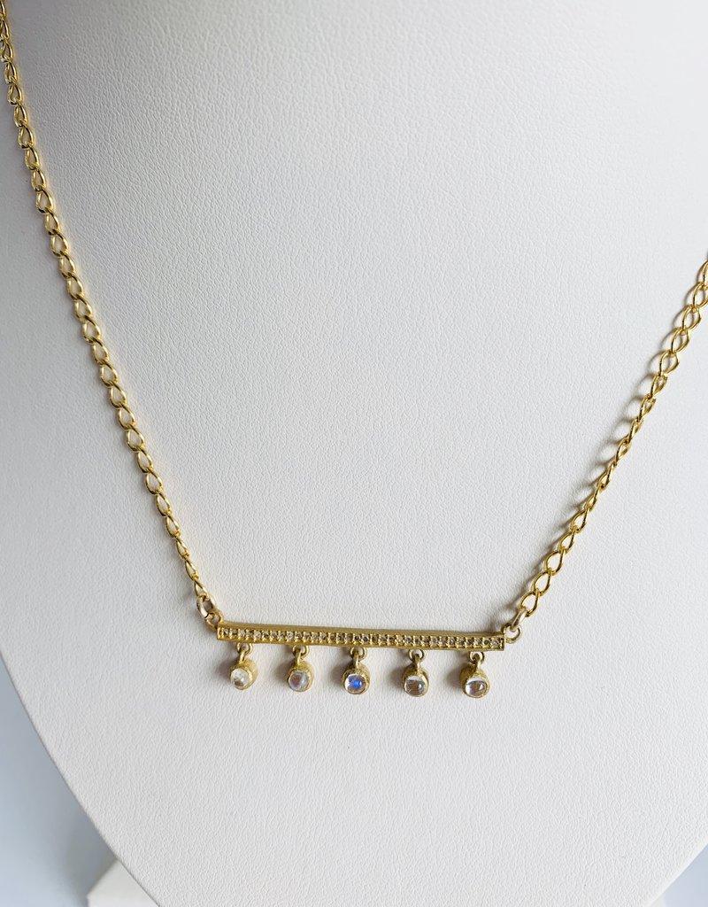 "SENNOD 18"" Moonstone Diamond Bar Necklace"