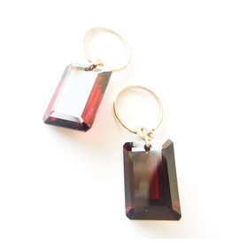 BREVARD Drilled Emerald Cut Garnet Earrings