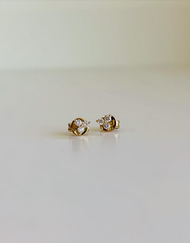 LAUREN FINE JEWELRY Three Stone Diamond Studs