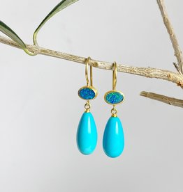 MALLARY MARKS Apple & Eve - Oval Opal and Turquoise Drop Earrings