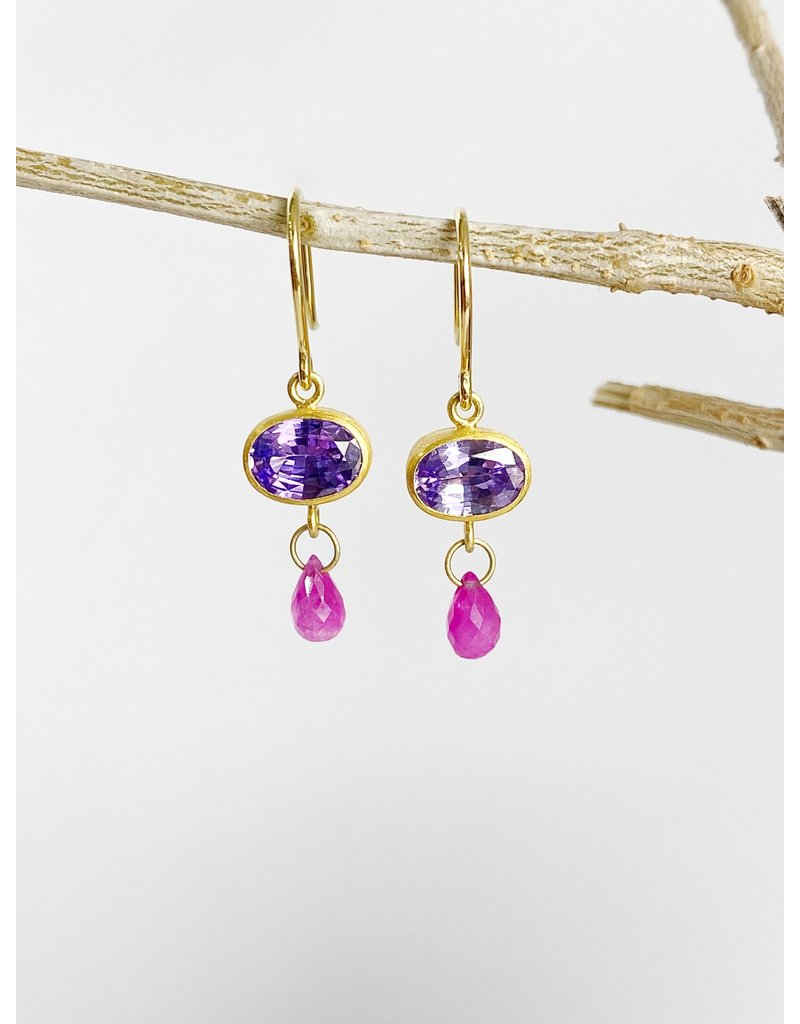 MALLARY MARKS Apple & Eve - Oval Purple Sapphire with Ruby Brios Earrings