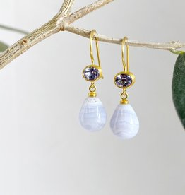 MALLARY MARKS Apple & Eve - Oval Tanzanite and Agate Earrings