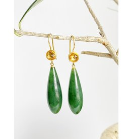 MALLARY MARKS Apple & Eve - Round Yellow Sapphire with Jade Earrings