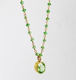 MALLARY MARKS Spun Sugar Necklace - Tsavorite beads with Tsavorite Pendant