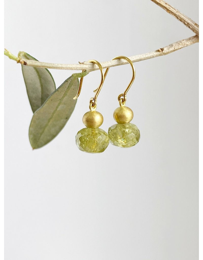 MALLARY MARKS Buoy Earrings - Solid Gold Ball over Olive Green Garnet