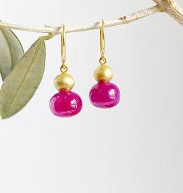 MALLARY MARKS Buoy Earrings - Gold Ball over Ruby