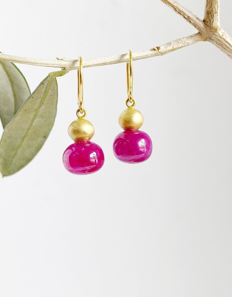 MALLARY MARKS Buoy Earrings - Gold Ball over Ruby