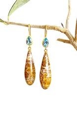 MALLARY MARKS Apple & Eve - Silicized Wood and Aquamarine Earrings