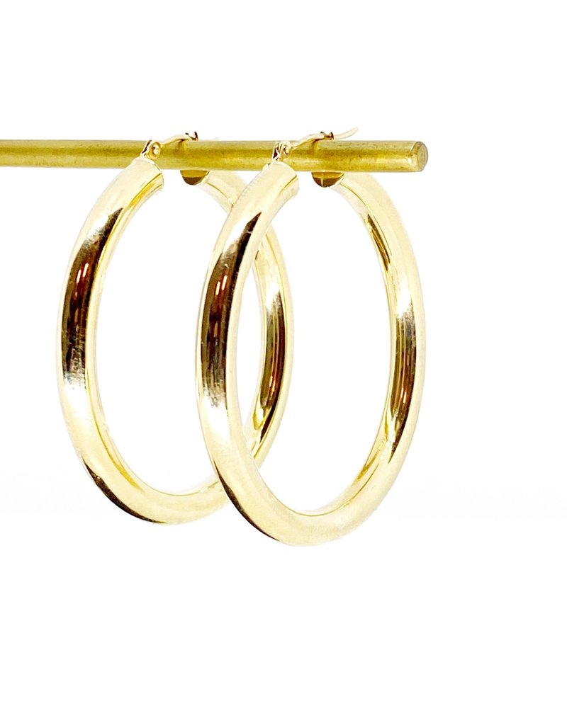 302 COLLECTION 40mm Chunky Hollow Tube Hoop Earrings