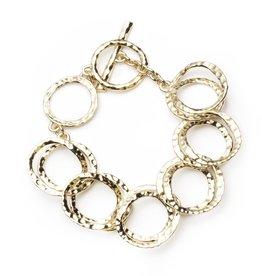 ALEXIS BITTAR Hammered Coil Link Gold Bracelet