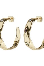 ALEXIS BITTAR Stone Studded Crumpled Hoop - Gold