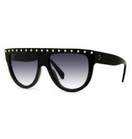 CELINE 4001IS Embellished Aviator - Black with Gold Studs