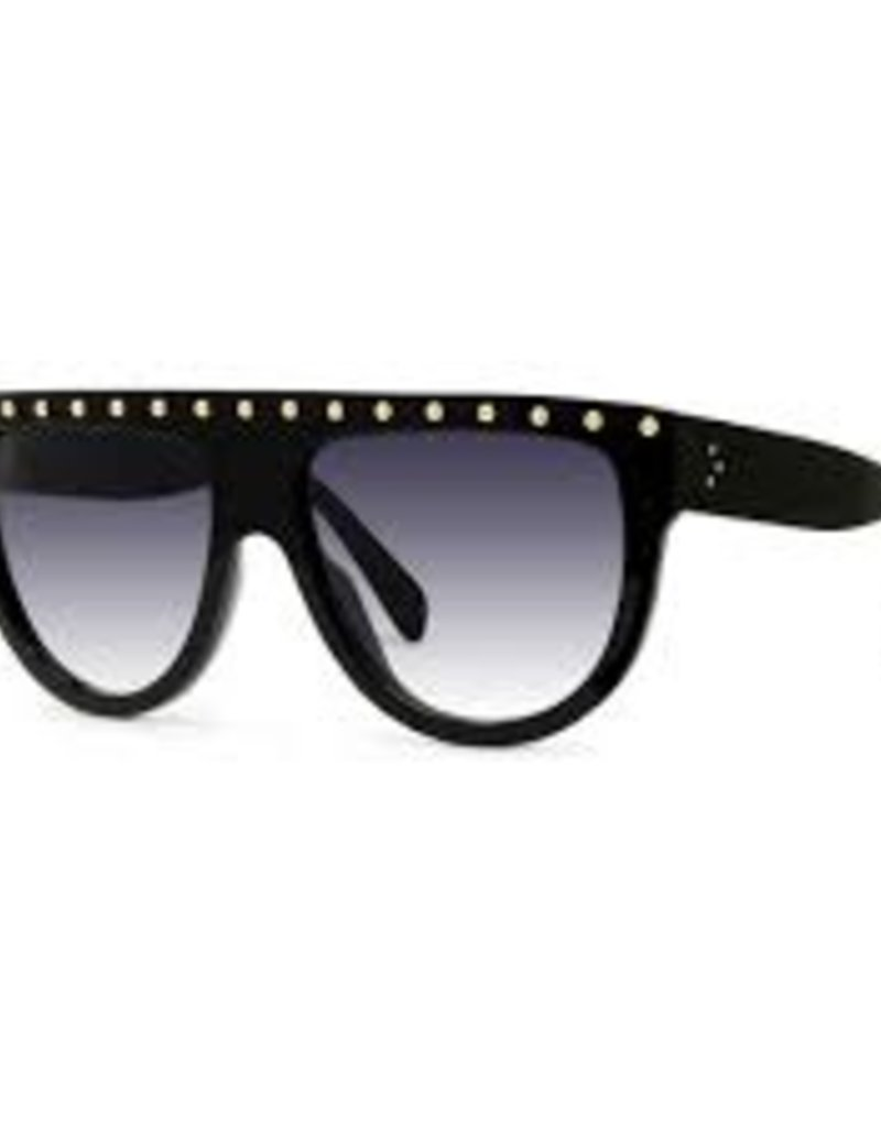 CELINE 4001 Flat Top Embellished Aviator - Black with Gold Studs